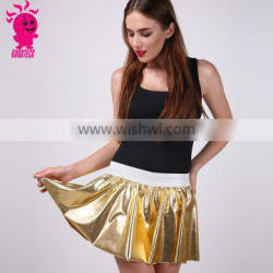 Wholesale 2016 Spring New Desgin Sexy Women Fashion Golden Leather Tutu Skirt for Girl