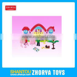 Zhorya fancy girl's toy deluxe home luxurious villa with 3 family figures music and light villa house for entertainment