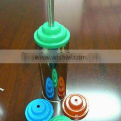 Stainless steel bathroom toilet brush holder with colour silicon lid