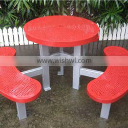 Powder coated metal table outdoor table and bench