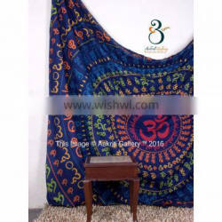 Indian Turquoise Color Full Om Print Double 100% cotton indian tapestries 92x82 Tapestry