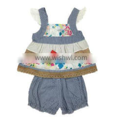 Wholesale new design floral stripe 2 piece outfit Baby girls photo without cloth of baby clothes set