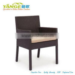 chair dining with cushion in PE rattan and Aluuminum frame