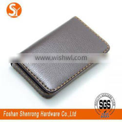 Concise design unisex gender black and brown PU leather credit name card holder with cheap price