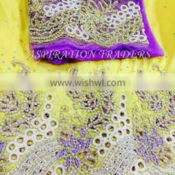 Hot sell african guipure cupion lace george Fisrt lady george, heavy beaded wrapper with blouse
