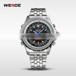 WEIDE 2016 New Military Quartz Watch Stainless Steel Back Watches Men Luxury Brand Water Resistant LED Watch Clock WH904