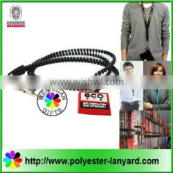 Fashion zipper lanyard with soft pvc puller