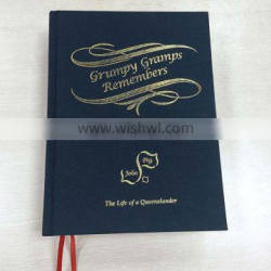China Manufacture Gold Stamping Art Paper Thick A4/A5 Hardcover Leather Cover Book With Ribbon