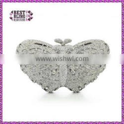 butterfly Crystal gold and sliver animal crystal clutches (8636A-S2)