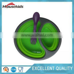 2 Sections Round Silicone Lunch Box Container Lime Green School Picnic with spork