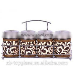 4pcs round glass spice jar set with metal cover