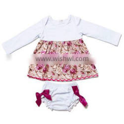 new arrive 0-24 months baby girls 2 pieces sets long sleeve flower print boutique outfits
