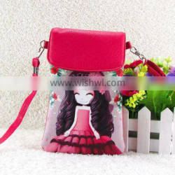 Wholesale pu lovely cartoon girl mini crossbody cell phone bag