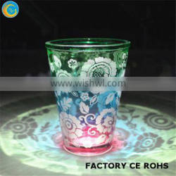 High quality colorful glass candle holder with sandblasted floral design/ Hurricane candle holders