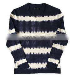 100% Cotton Customized Brand Men's Knitted Long Sleeve V-neck Tie-dyed Technics T-shirt