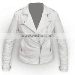 Latest Design Biker Leather Jacket Ladies Solid Cow Leather Motorcycle Coat SALE