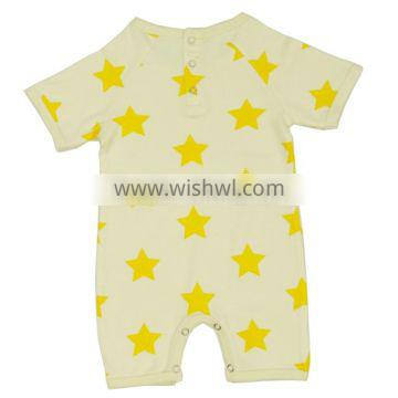 Quality Organic cotton baby rombers and Organic Cotton Knit yellow star print baby Rombers with short sleeve cute baby rombers