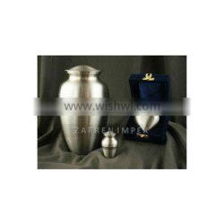"Classic Pewter 10"" Solid Brass Cremation Urn"