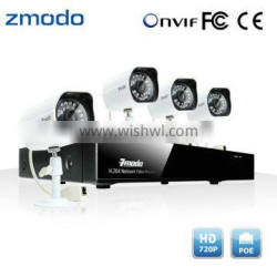 Zmodo Outdoor 720P IP Camera 4CH POE NVR System For IP Camera