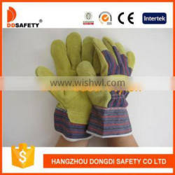DDSAFETY 2017 Yellow Cow Split Leather Gloves Stripe Cotton Back Safety Gloves