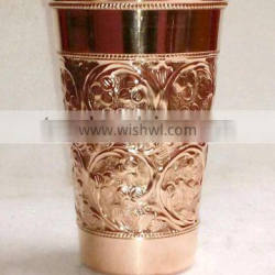 FDA APPROVED 100% PURE COPPER TUMBLER FOR DRINKING, EMBOSSED DESIGN PURE COPPER CONTAINER FOR BEER, MOSCOW MULE