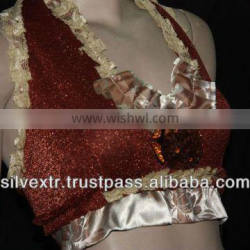 TRIBAL GOTHIC STEAMPUNK HALTER TOP SHINNING FABRIC