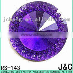 purple color point face round resin stone