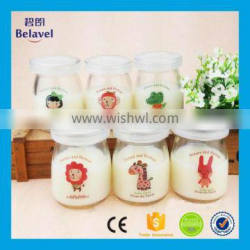 100ml glass pudding bottle with decal clear glass pudding jar with plastic lid