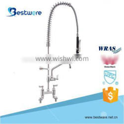 Commercial Kitchen Double Deck Mounted Stainless Steel Pull-out Pre-rinse Faucet