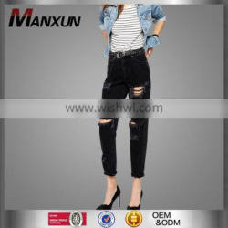 Fashionable High Quality Wholesale Black Women Ripped Jeans