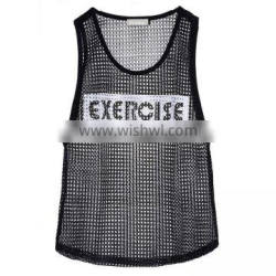 Sport mesh tank top with printing for women