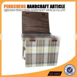 Folding grid brown color with a lid laundry basket