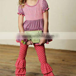 unique polka dots ruffle girls boutique clothing sets