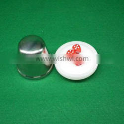 Top Quality Professional White Steel Crap Dice Set / Dice Cup