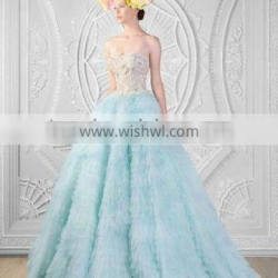 sexy light blue sleeveless beaded ball gown formal dresses