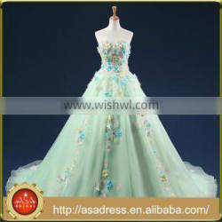 ASAP-16 Real Photos Off the Shoulder Beaded Handmade Flowers Lace-up Back Long Mint Green Evening Dresses Quality Choice
