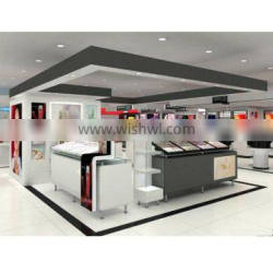 baking paint finished cosmetic kiosk for makeup display kiosk with wooden counter display