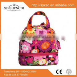 Best selling cotton beautiful quilted textile printing duffel foldable cooler bag
