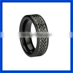 hot 2014 Hot PVD Black Tungsten Puzzle Ring TPTR442#
