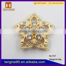 Guangzhou factory Metal Flower accessory with diamond for shoes/bags