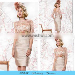 Plus Size Elegant High Lace Collar Groom Mother Dresses Knee Length Champagne Lace Mother of the Bride Short Dresses 2015(MM27)
