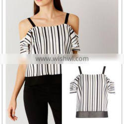 MIKA72007 Casual Wear Lady Top Jerry Stripe Cold Shoulder Blouses tops