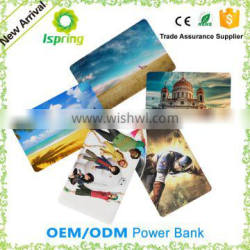 Printing Logo ultra slim credit card 2500 mah power bank with build in cable
