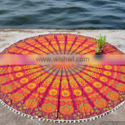 """72"""" Bohemian Hippie Indian Mandala Roundie Tapestries Round Beach Throw Wall Hanging Yoga Mat Table Cover With Pom-Pom Lace"""