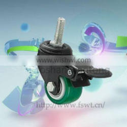 Small Suitcase Threaded Stem PU Furniture Caster Wheel