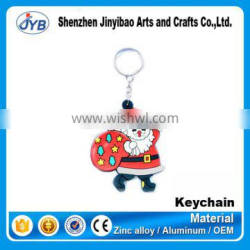 Promotional gifts rubber key chain custom pvc Santa clause keychain