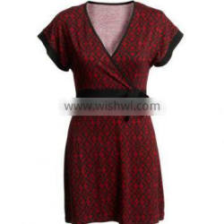 Dark Red and Black Color Women Frock