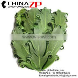 ZPDECOR Factory Wholesale Best Dyed Moss Green with Hunter Green Curled Goose Feathers Pad Plume Craft for Hair Accessories