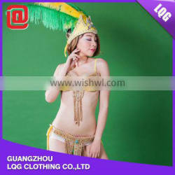 Cheap yellow handmade feather colorful rhinestones adorned carnival cheap costume