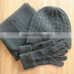 Fashion 7gg Cable Knitted 100% Cashmere Hat Glove Scarf Set